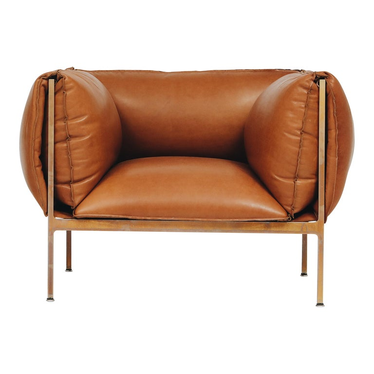 Armchair in Cognac Leather and Burnished Brass-Plated Laser-Cut Steel Frame For Sale