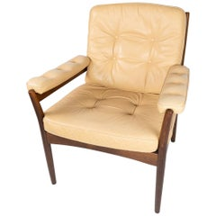 Armchair in Dark Wood and Upholstered with Light Elegance Leather, 1960s