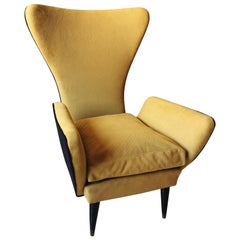 Armchair in Fabric and Wood, by Emilia Sala e Giorgio Madini, Mid Century 1950s