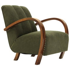 Armchair in Green Fabric and Wooden Armrests, 1930s