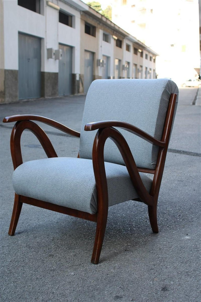 Armchair in Italian Curved Walnut Wood from the 1950s Upholstered Cushions ,Paolo Buffa Style .