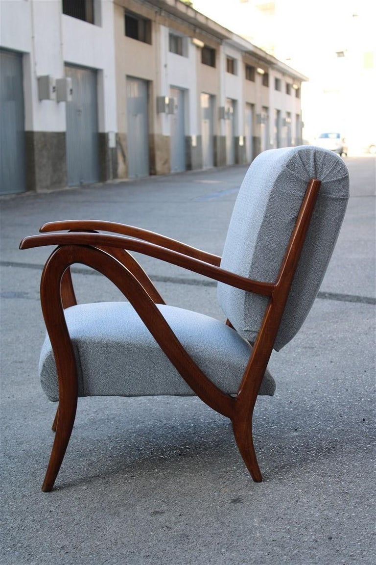 Mid-Century Modern Armchair in Italian Curved Walnut Wood from the 1950s Upholstered Cushions For Sale