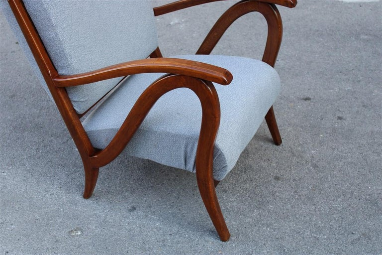 Fabric Armchair in Italian Curved Walnut Wood from the 1950s Upholstered Cushions For Sale