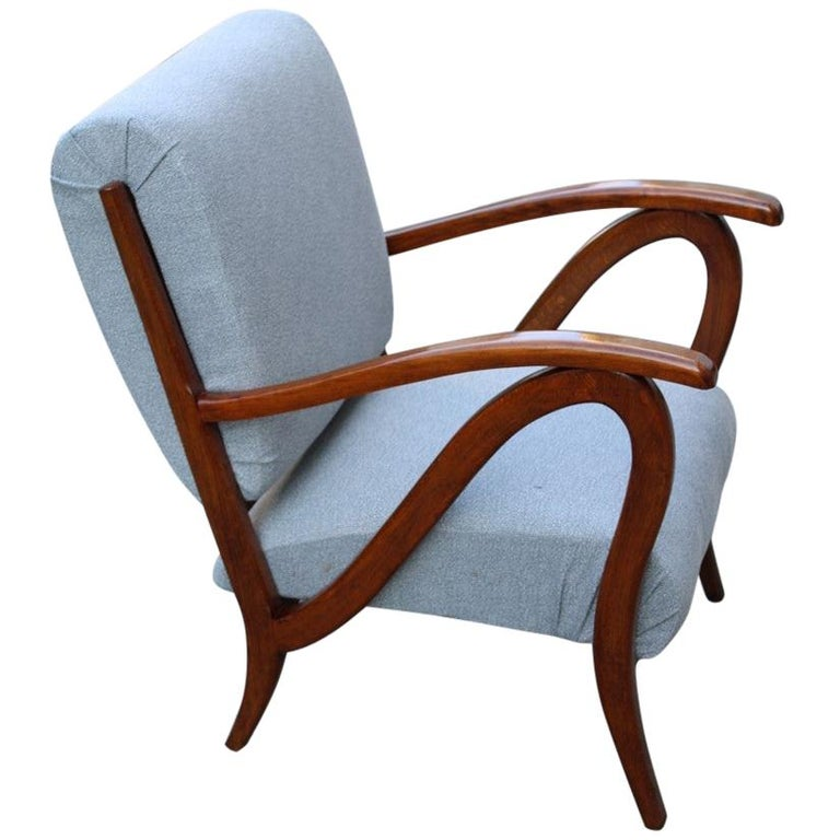 Armchair in Italian Curved Walnut Wood from the 1950s Upholstered Cushions For Sale