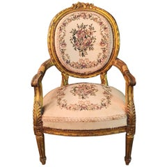 Armchair in Louis Seize Style, Tapestry Fabric Gildet