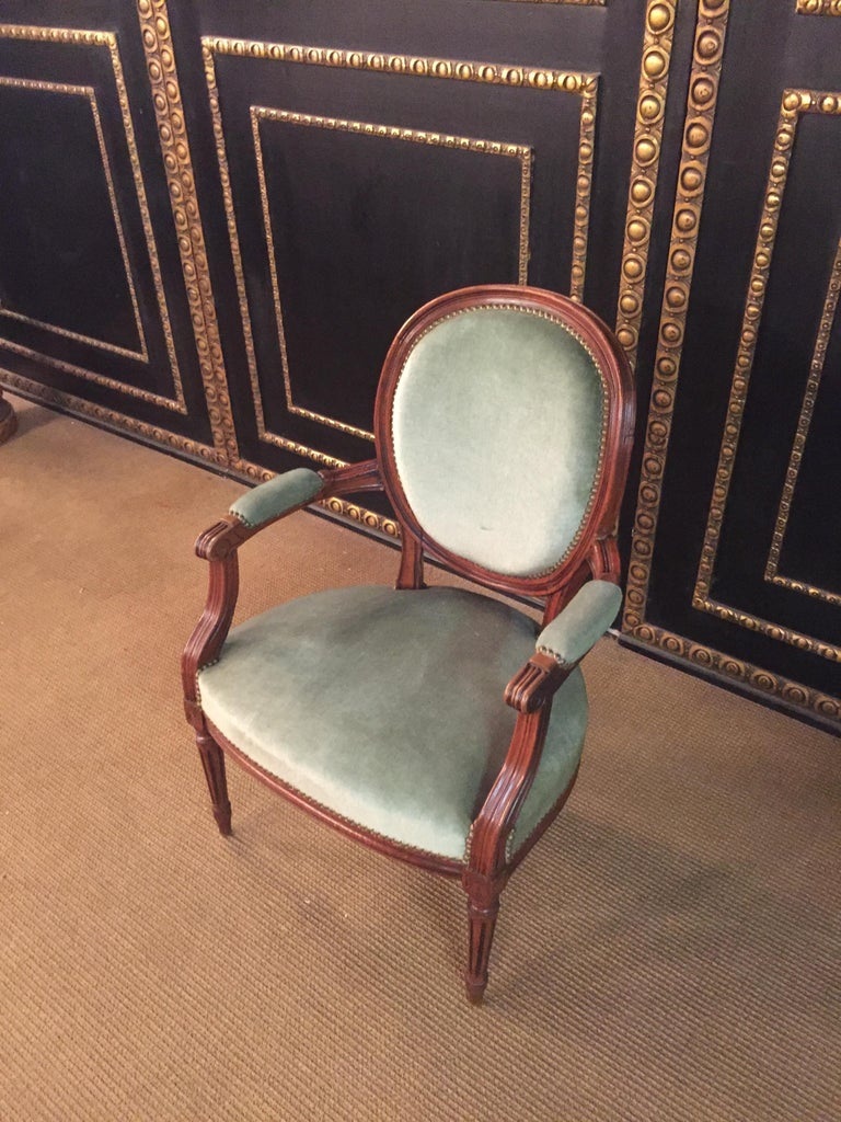 Louis XVI Armchair in Louis Seize Style Walnut For Sale