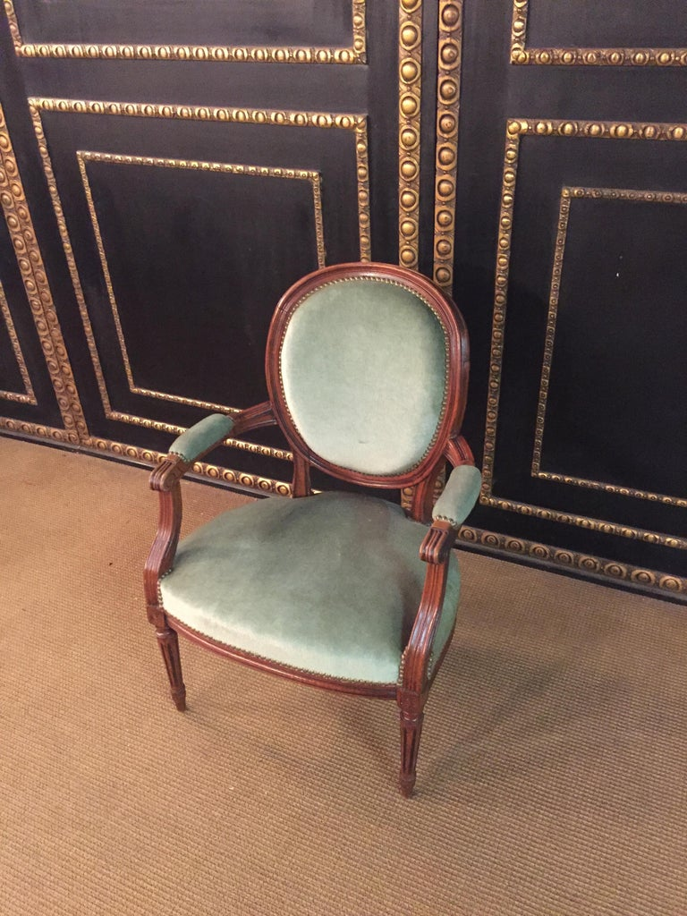 Hand-Carved Armchair in Louis Seize Style Walnut For Sale