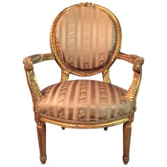 Armchair in Louis Seize Style xv with Curved Armrests