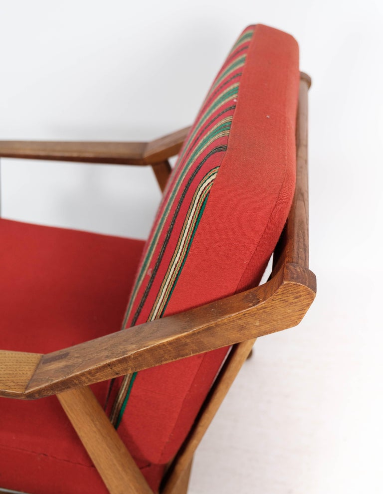 Armchair in Oak and Upholstered with Red Fabric, by H. Brockmann Petersen, 1960s For Sale 1