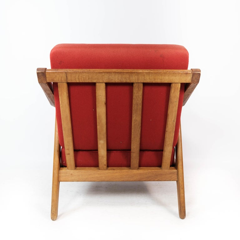 Armchair in Oak and Upholstered with Red Fabric, by H. Brockmann Petersen, 1960s For Sale 2