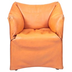 Armchair in Patinated Leather by Mario Bellini, 1970s