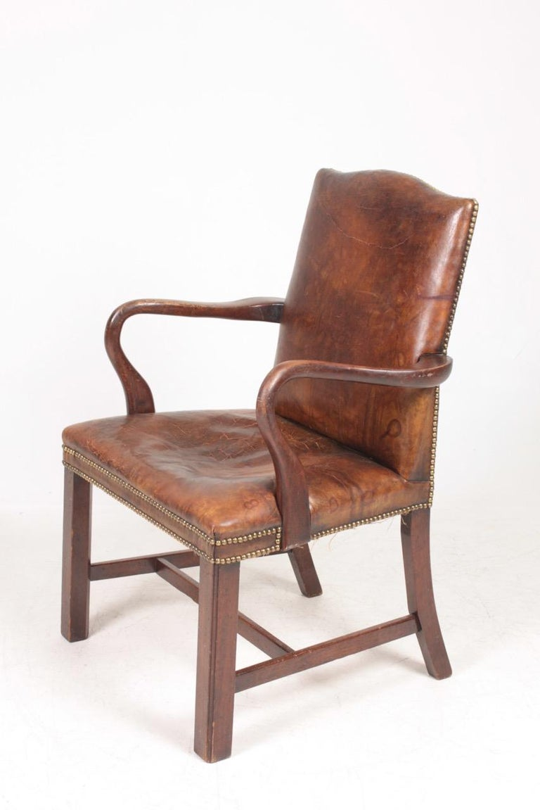 Scandinavian Modern Armchair in Patinated Leather, Danish Design, 1940s For Sale