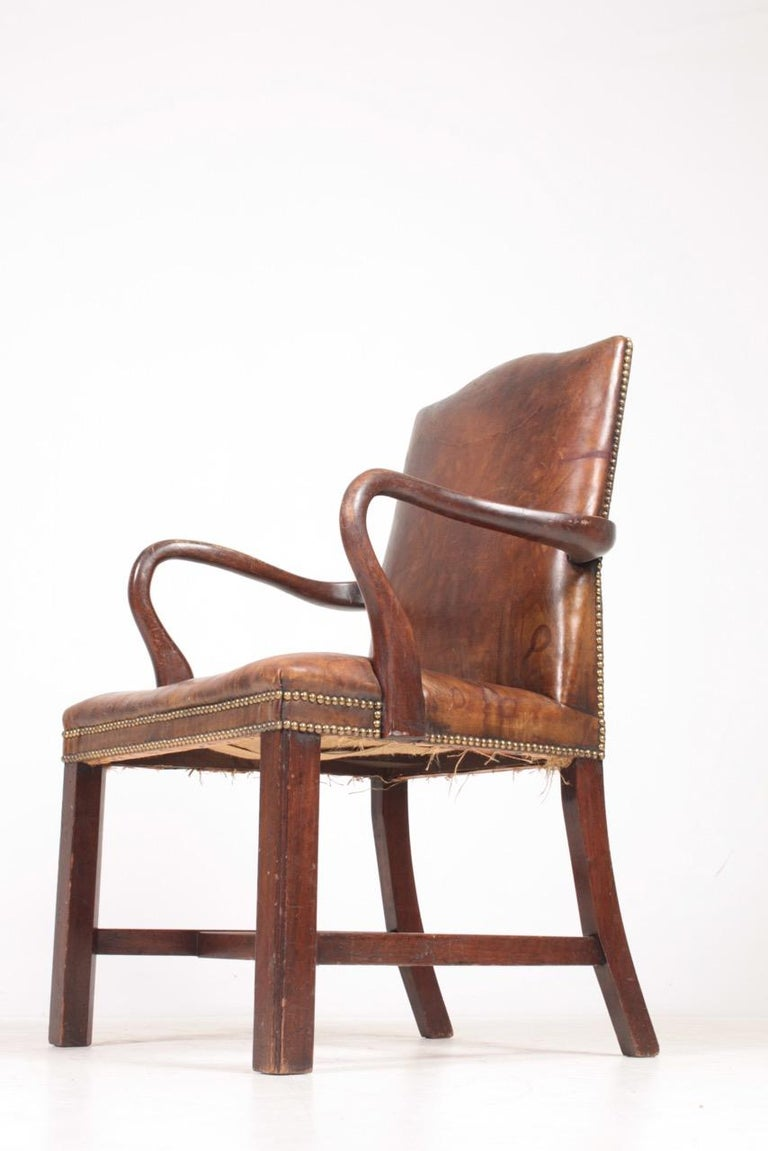 Scandinavian Armchair in Patinated Leather, Danish Design, 1940s For Sale