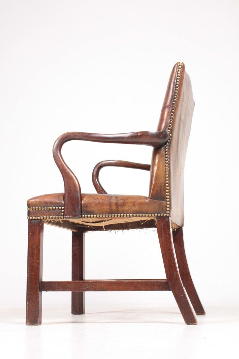 Armchair in Patinated Leather, Danish Design, 1940s For Sale 2