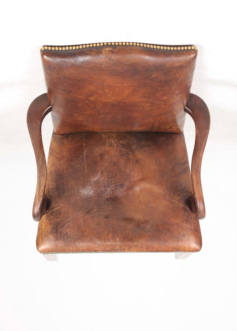 Armchair in Patinated Leather, Danish Design, 1940s For Sale 3