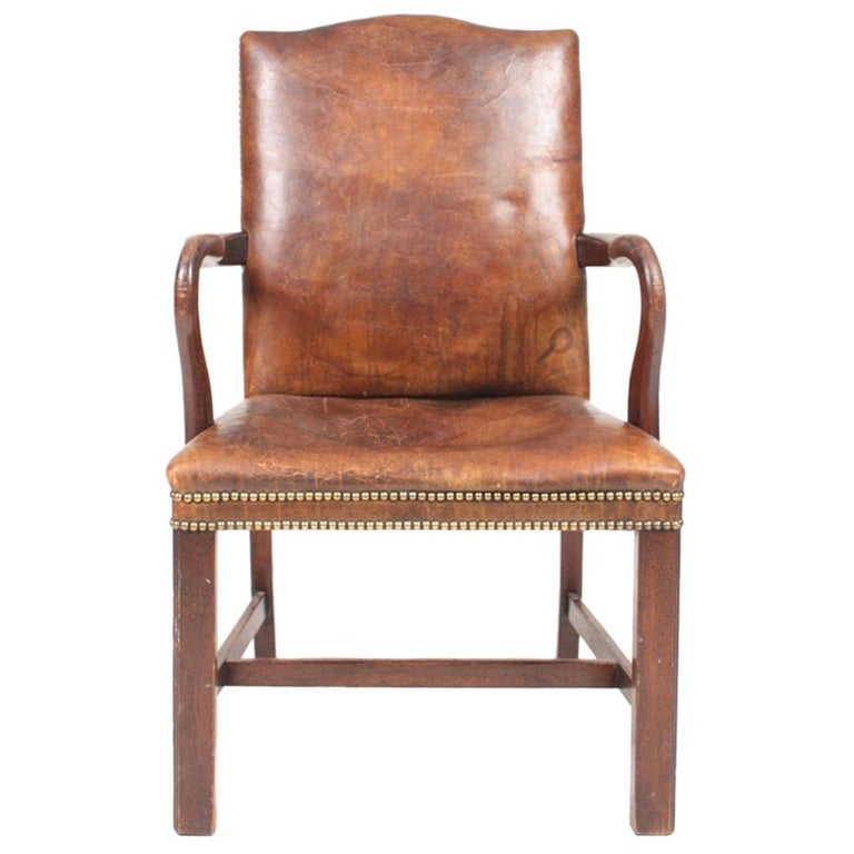 Armchair in Patinated Leather, Danish Design, 1940s For Sale