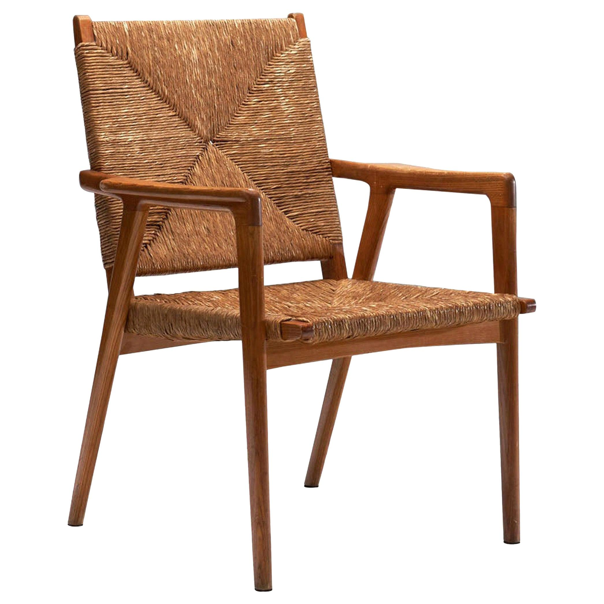 Armchair in Solid Oak and Cane, Denmark, circa 1960s