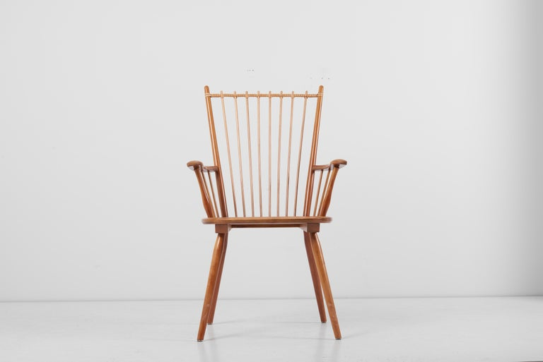 Armchair in Solid Wood by Albert Haberer for Hermann Fleiner, Germany, 1950s For Sale 7