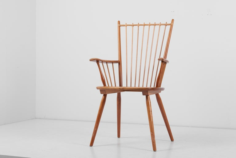 Armchair in Solid Wood by Albert Haberer for Hermann Fleiner, Germany, 1950s For Sale 8