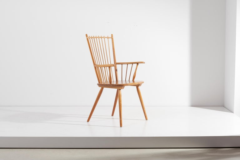 Armchair in Solid Wood by Albert Haberer for Hermann Fleiner, Germany, 1950s For Sale 9