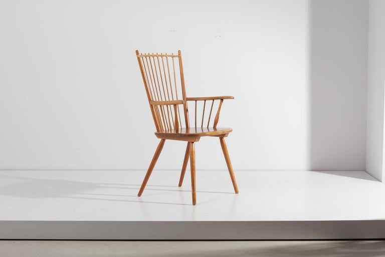 Armchair in Solid Wood by Albert Haberer for Hermann Fleiner, Germany, 1950s For Sale 10