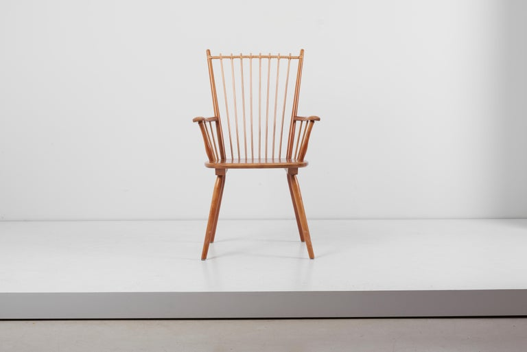 Rare architectural Arts & Crafts chair, designed circa 1949 by Albert Haberer and manufactured by Hermann Fleiner in Stuttgart, Germany. The flexible backrest is made of thin spindles, held together with a leather connection. The leather is a