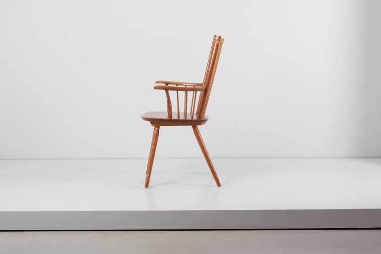 Arts and Crafts Armchair in Solid Wood by Albert Haberer for Hermann Fleiner, Germany, 1950s For Sale