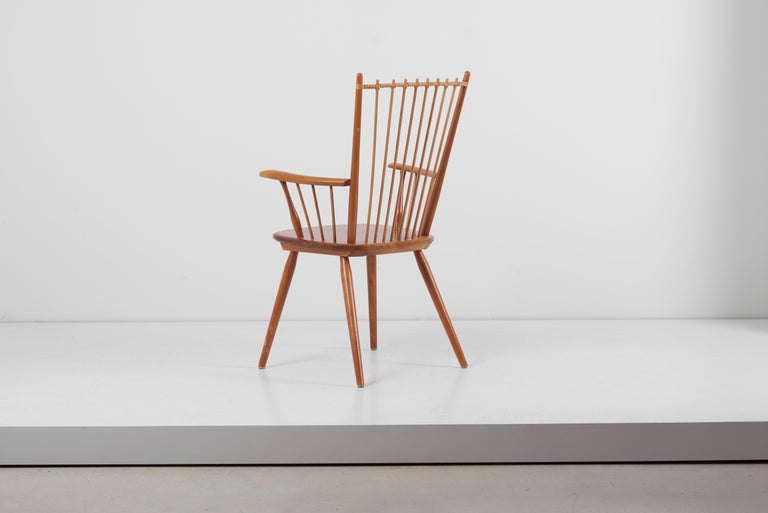 Armchair in Solid Wood by Albert Haberer for Hermann Fleiner, Germany, 1950s In Good Condition For Sale In Berlin, DE