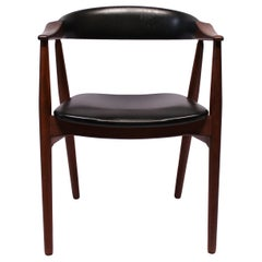 Armchair in Teak and Black Classic Leather of Danish Design from the 1960s