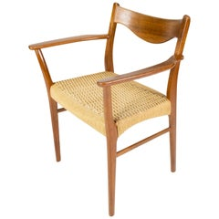 Armchair in Teak and Paper Cord of Danish Design from the 1960s
