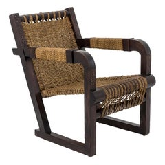 Francis Jourdain style Armchair in wood and Ropes, Art Deco Period