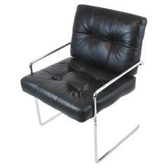 Armchair cantilever in the manner of Pierre Paulin, leather, black, steelframe