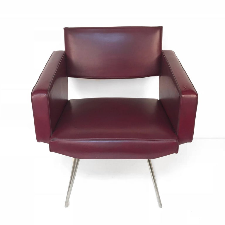 Mid-Century Modern Armchair in the Style of Joseph Andre Motte, France, 1950s, Faux Leather For Sale