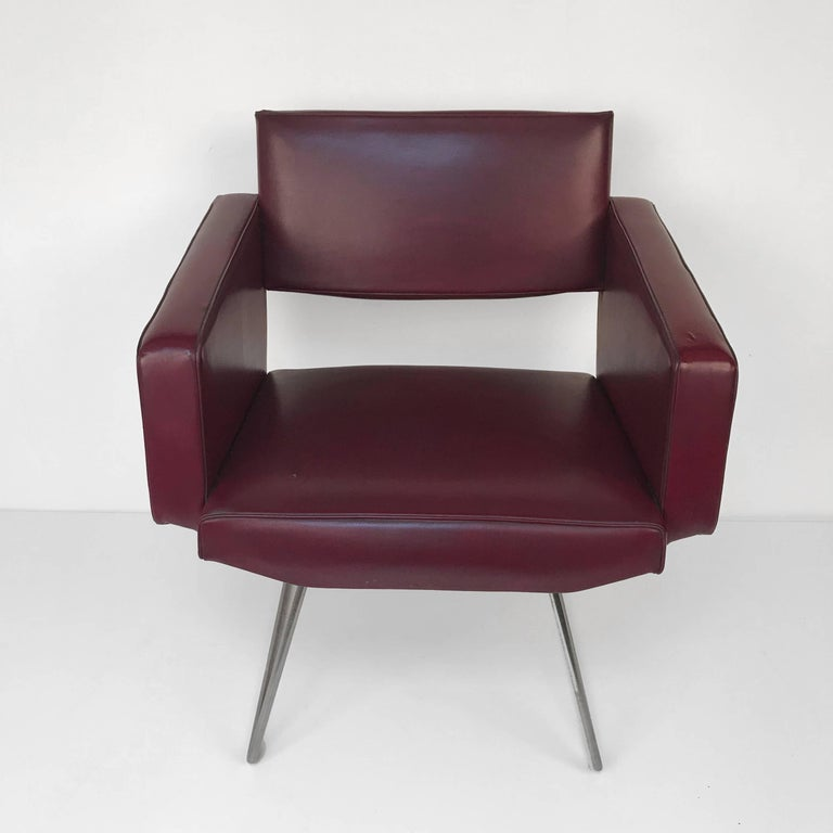French Armchair in the Style of Joseph Andre Motte, France, 1950s, Faux Leather For Sale