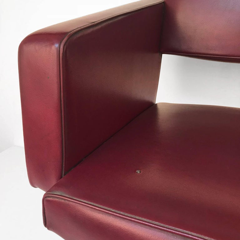 Armchair in the Style of Joseph Andre Motte, France, 1950s, Faux Leather In Fair Condition For Sale In Roma, IT