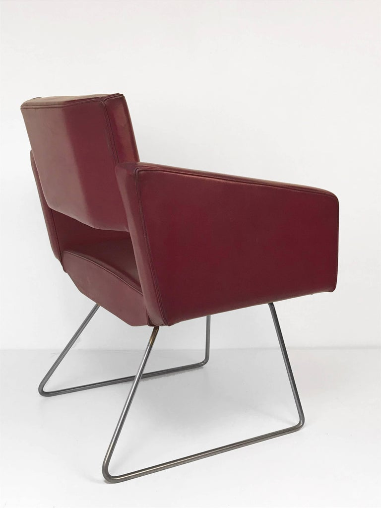 20th Century Armchair in the Style of Joseph Andre Motte, France, 1950s, Faux Leather For Sale