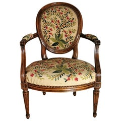 19th Century Walnut Armchair  with Needlepoint Upholstery France
