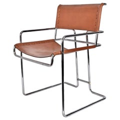 Armchair Italian Leather and Chromed Steel i4 Mariani by Faleschini, Italy 1970s