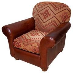 Armchair Kelim Leatherette Vintage Country House Ralph Lauren Beige Burgundy