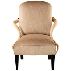 Armchair Kudu, Natural Horn Armrest, Upholstered in Fabric, Solid Brass Details