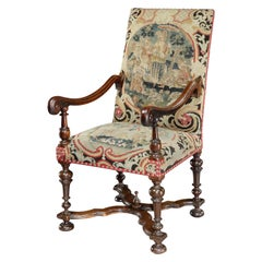 Armchair chair 17th Century English Walnut Needlework X-Stretchered, Scroll