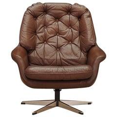 Armchair Leather Danish Design, 1960-1970