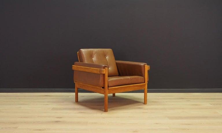 Mid-Century Modern Armchair Leather Vintage Scandinavian Design For Sale