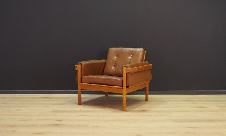 Veneer Armchair Leather Vintage Scandinavian Design For Sale