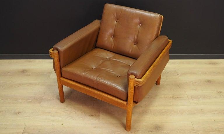 Armchair Leather Vintage Scandinavian Design In Good Condition For Sale In Okunica, Zachodniopomorskie