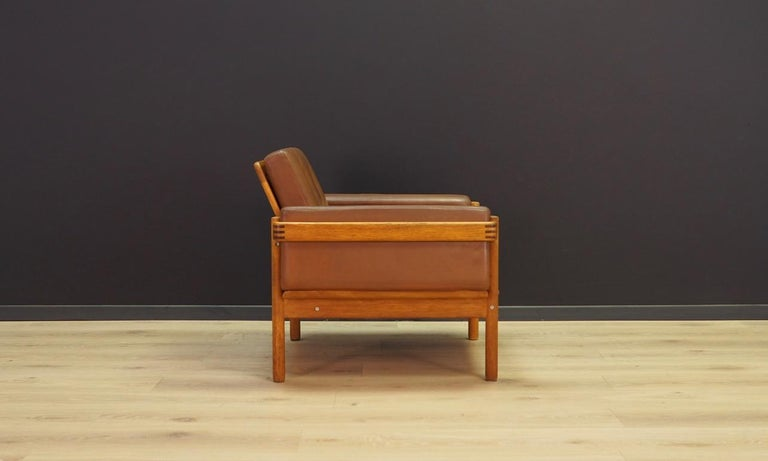 Late 20th Century Armchair Leather Vintage Scandinavian Design For Sale