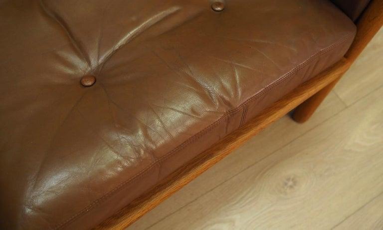 Armchair Leather Vintage Scandinavian Design For Sale 1