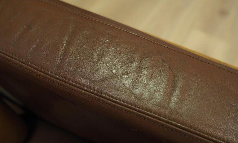 Armchair Leather Vintage Scandinavian Design For Sale 2
