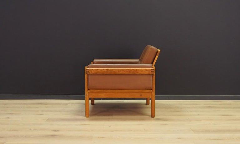 Armchair Leather Vintage Scandinavian Design For Sale 3