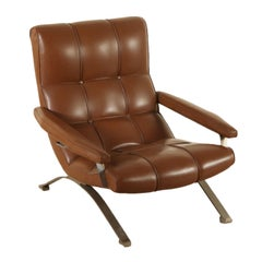 Armchair Leatherette Chromed Metal Vintage, Italy, 1960s-1970s